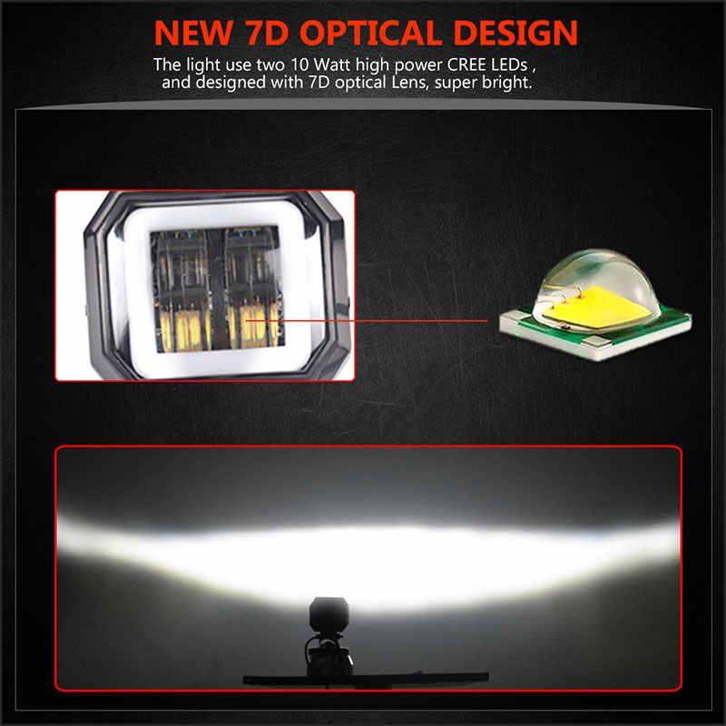 Рабочий свет балки 3 ''20 Вт лампа для вождения фары противотуманные дневные ходовые огни Новый 7D для автомобилей Мотоцикл Halo Jeeps ATV 12V 24V SUV