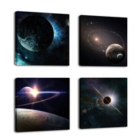 Outer Space Planet Painting Canvas Prints Wall Paintings Decoration Wooden Wall Art Modular Picture Home Decorate