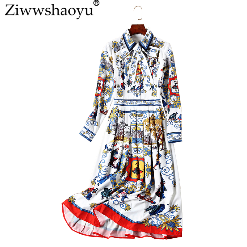 Bohème Multi Ziwwshaoyu Turn Nouvelle 2018 Piste A Imprimer Robe ligne down Col Mince Drapé Automne Couture xASAZqrwX