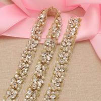YANSTAR Свадебные платья ремень жемчуг, горный хрусталь аппликации отделка 1 ярд Для Bridal Sash розовое золото Кристалл аксессуары YS927