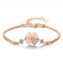 Four-leaf clover series-Copper Plated Silver Bracelet Women's Lucky Jewelry HandWrist Accessories Fashion For Gift Ornaments(China)