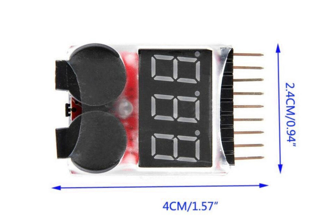 1-8S Low Voltage battery tester Buzzer Alarm LED Low Voltage Buzzer Lipo Voltage Indicator checker(buy buzzer got adhersive)