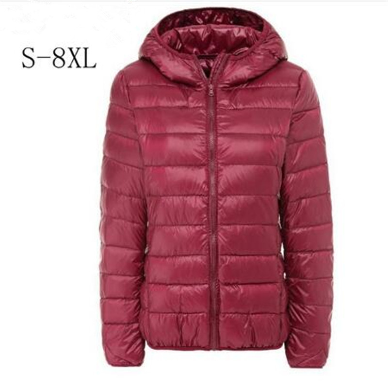 Brand Large Size 7XL 8XL Women's   Down     Coat   Plus Ultra Light   Down   Jacket Women Autumn Winter Hooded Feather Warm Jacket