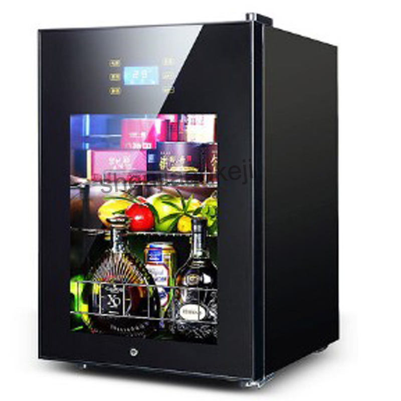 62L Wine Refrigerators Cold Storage Refrigerator Transparent Glass Door Tea Drinks Freezers -5to10 Degrees C Food Sample Cabinet