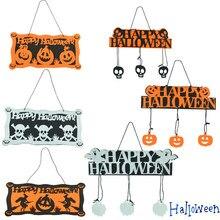 Halloween Decoration Happy Halloween Hanging Pumpkin Hangtag for Window Door Home Decoration