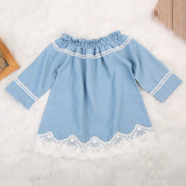 cf95aa4d US $4.28 12% OFF|Niemowlę dziecko dziewczyny koronki sukienka Denim Off  ramię wakacje dla dzieci sukienka z długim rękawem proste sukienki dla ...