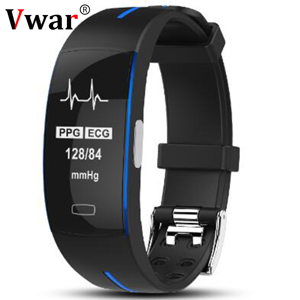 Vwar H66 Blood Pressure Band Heart Rate Monitor PPG ECG Smart Bracelet Activit Fitness Tracker Watch Intelligent Wristband P3