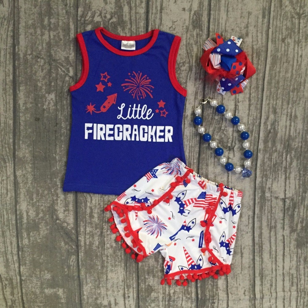new baby Summer clothing cotton little firecracker star royal blue boutique unicorn shorts outfits girls July 4th ruffles set 2016 summer baby child girls outfits ruffles shorts white striped watermelon boutique ruffles clothes kids matching headband set