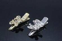 2pcs Butterfly  Crystal Hair Pin Wedding Brides tiara Hair Clip Rhinestone New Hair Jewelry Silver Bridal Accessories G121-3