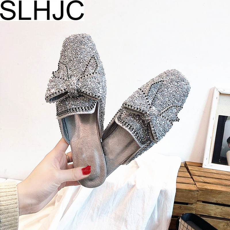 SLHJC Bling Slippers Women 2018 Spring Summer Fashion Flat Heel Women Female Luxury Pointed Toe Rhinestone Bow Flats Shoes new 2017 spring summer women shoes pointed toe high quality brand fashion womens flats ladies plus size 41 sweet flock t179