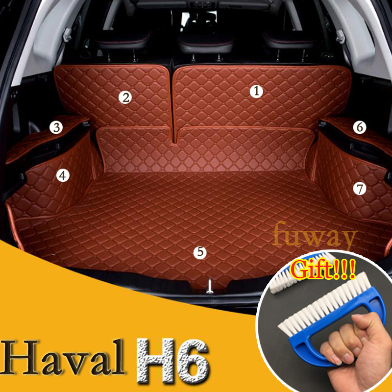 Custom Full trunk 3D mats leather pad for HAVAL H6 all weather tray carpet cargo car-styling car stickers car accessories custom cargo liner car trunk mat carpet interior leather mats pad car styling for dodge journey jc fiat freemont 2009 2017