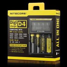 Original Nitecore D4 LCD Carregador de Bateria Inteligente de Carregamento para 18650 14500 16340 26650 Baterias 12 V Carregador para AA AAA baterias