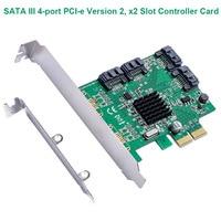 SATA III 4 port Pci Versie 2  x2 Slot Controller Kaart met low profile bracket Marvell 88SE9235|Domotica|   -