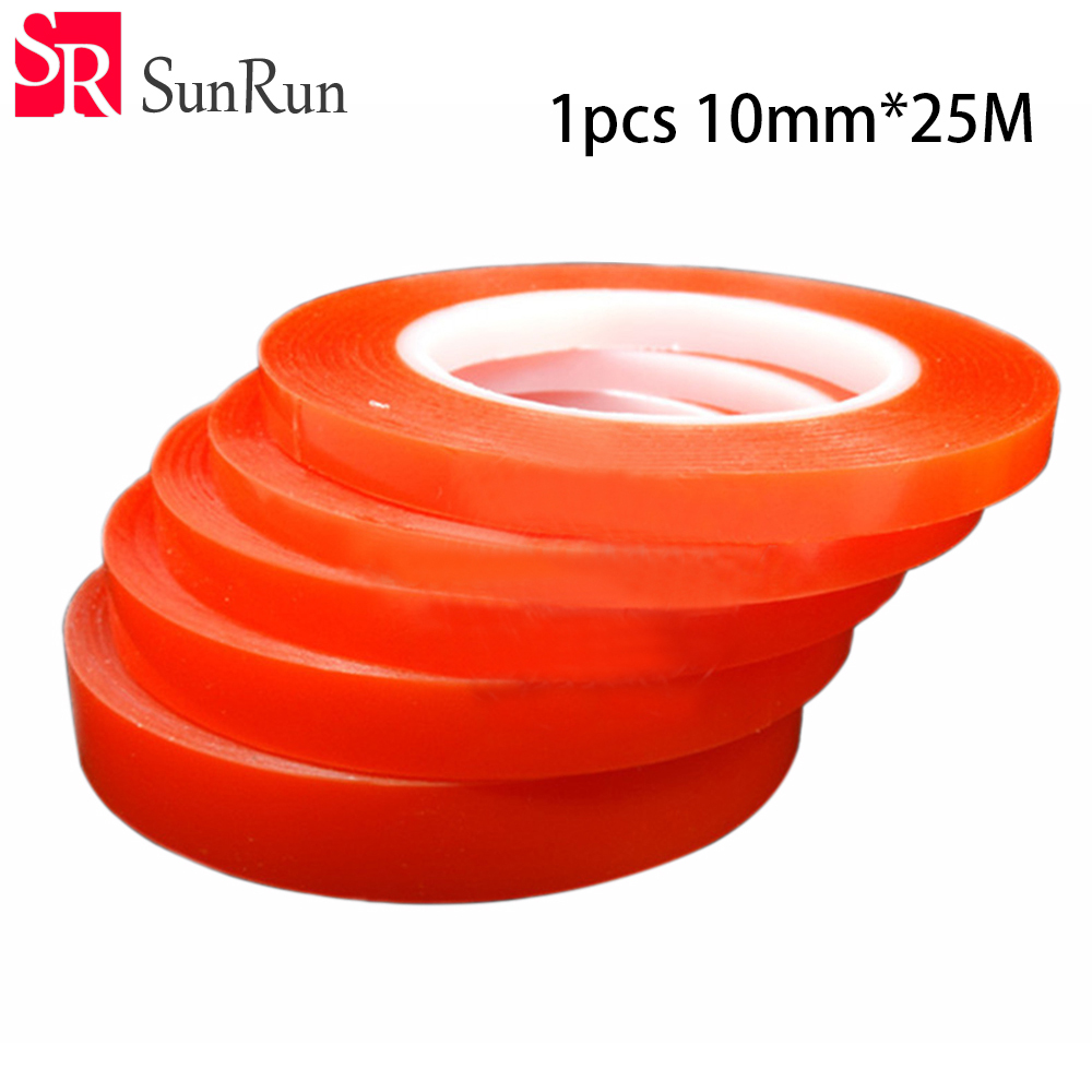 High quality 10mm * 25M PET double - sided tape red film strong seamless adhesive transparent ultra - thin mobile phone tape seamless double sided adhesive waterproof sticker 20pcs