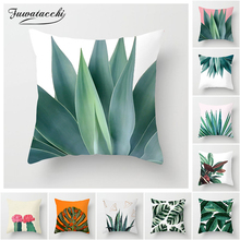 Fuwatacchi Green Cactus Cushion Cover Tropical Plant Pillow Cover for Home Chair Sofa Decorative Pillows Birds
