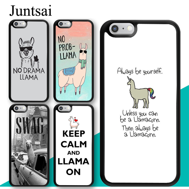 new concept 343a8 ed26a US $2.99 5% OFF|Juntsai No Drama Prob Llama Lama Phone Case for iphone 5 5s  6 6s 7 8 Plus X XR XS MAX TPU Back Cover Coque For iphone 7Plus-in Fitted  ...