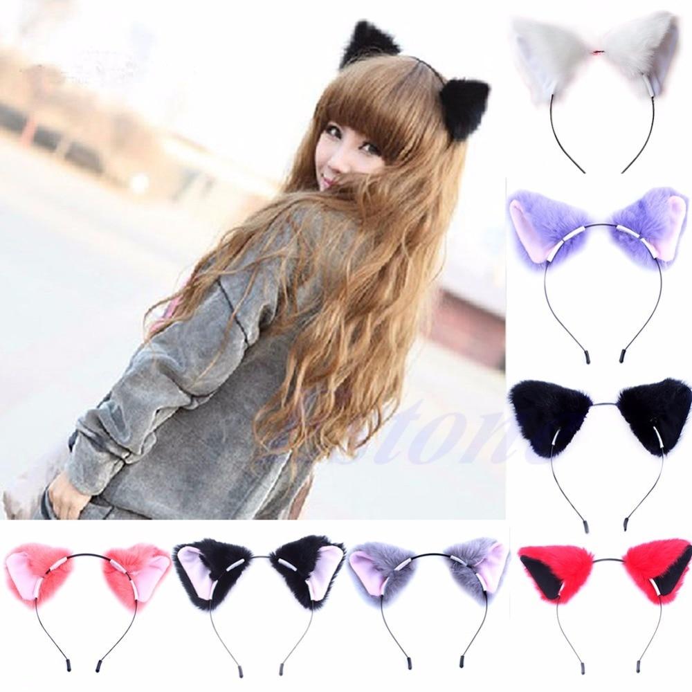 Girl Cute Cat Fox Ear Long Fur Hair Headband Anime Cosplay Party Costume