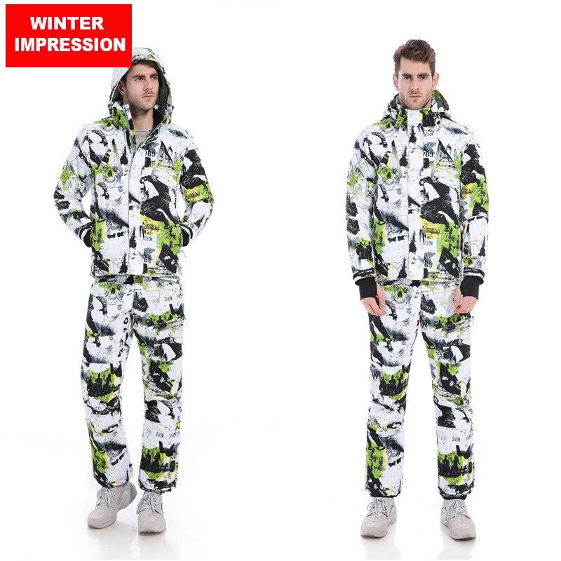 Impression d'hiver 2017 Hommes combinaison de Ski Coupe-Vent Imperméable Ski Veste + Pantalon Vêtements Chauds Ensemble Solide Hommes Snowboard Veste pantalon