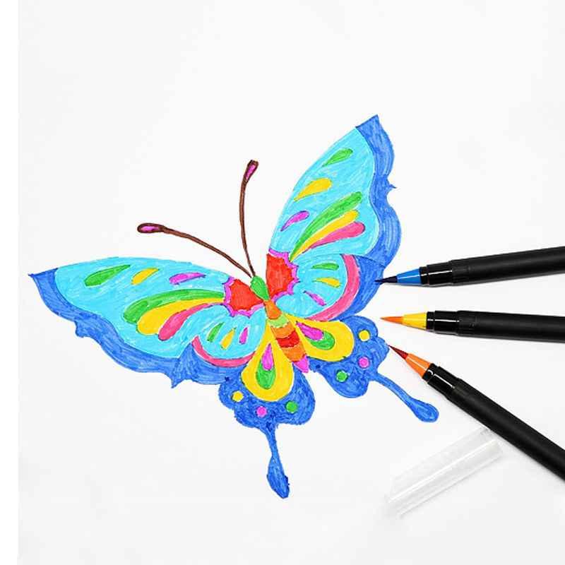 1 piezas 20 Color acuarela pluma de la cabeza del cepillo de pintura de agua del grifo de la pluma creativa plumas de caligrafía de mano dibujo cepillo