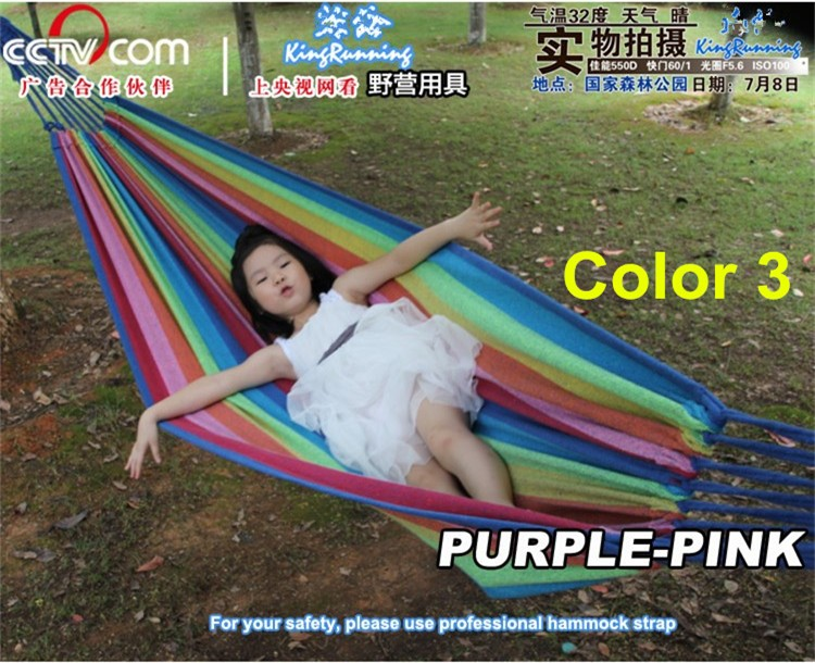 Outdoor Cozy Brazilian Hammock Cotton Canvas Fabric Durable Camping Garden Beach Outdoor Funiture Rainbow Blue Stripped Color