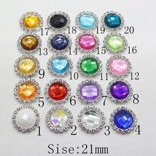Hot 10Pc 21mm round Acrylic rhinestone Button metal tray cap setting Wedding  inviations decorate hair flower center scrapbooking d3574cbdd157