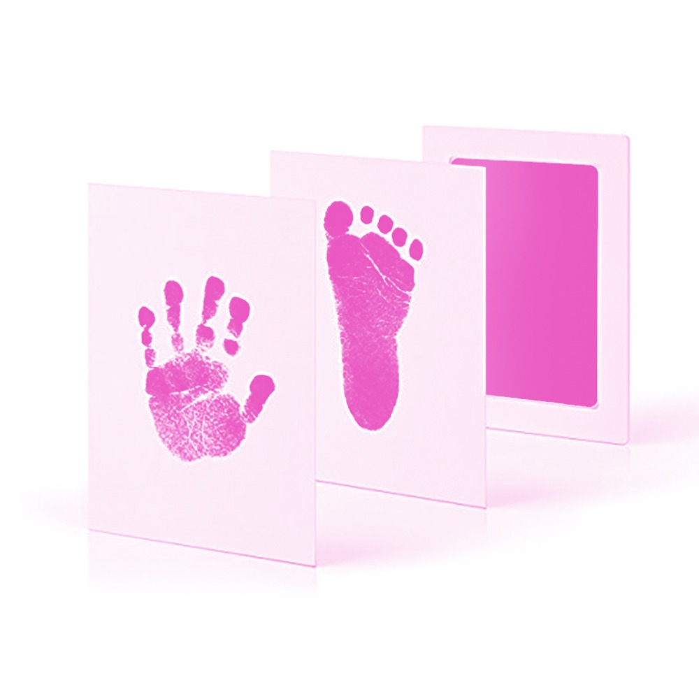 Taoqueen Pink Footprints Special Baby Hand Foot Print And Stamp Pad Ink Leave Footprints  Baby Souvenirs Pink Footprints-