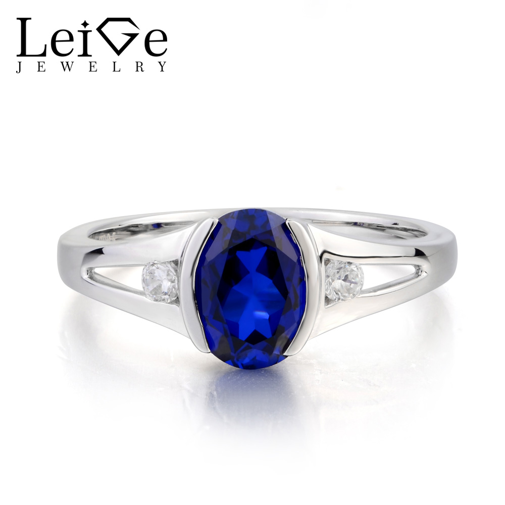 Leige Jewelry September Birthstone Lab Blue Sapphire Ring Wedding Ring Oval Cut Blue Gemstone Solid 925 Sterling Silver Ring leige jewelry oval cut lab blue sapphire promise ring 925 sterling silver ring gemstone september birthstone halo ring for her