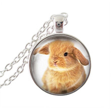 2017 New Fashion Hot Sale Rabbit Necklace Glass Cabohcon Art Pendants Animal Chain Necklaces Handcrafted Vintage JewelryHZ1