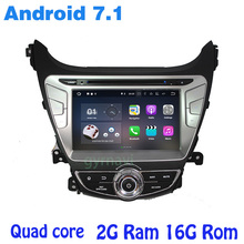 for Hyundai elantra 2014 2015 Android 7.1 Quad core Car dvd gps with wifi 4G usb bluetooth mirror link auto Stereo
