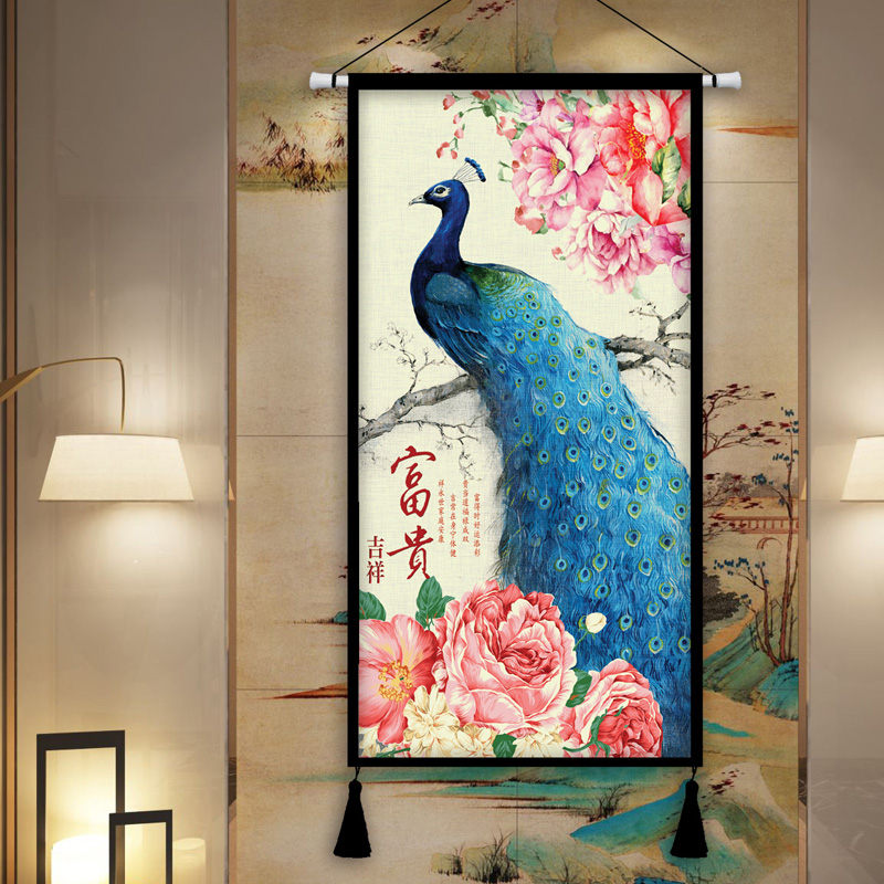 Paon richesse de bon augure pivoine tapisserie fond peinture décorative salon entrée 0 tissu peintures hôtel tapisserie