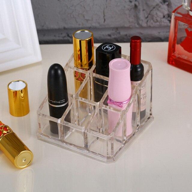 Clear 9 Grids Makeup organizer Lipstick Storage box Plastick Lip rack Holder Cosmetic Organizer box Cheap