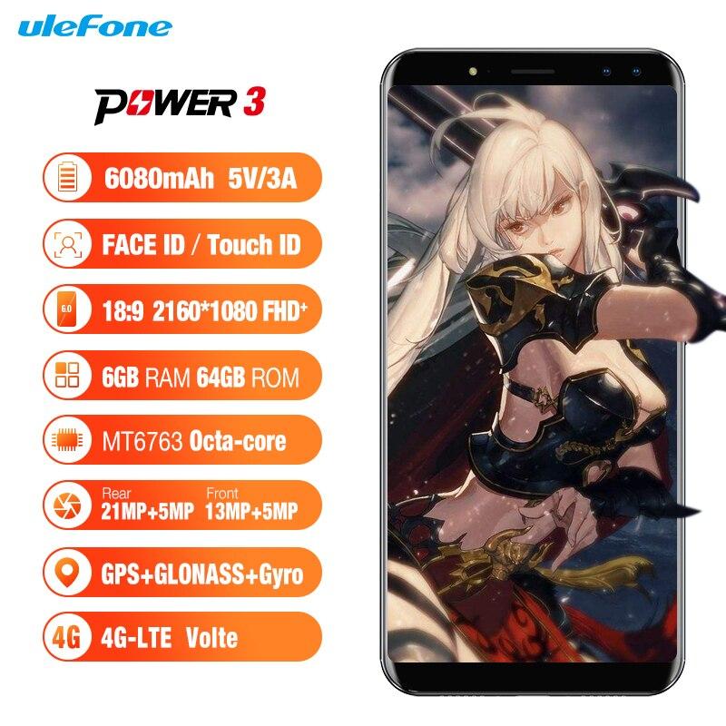 Ulefone Power 3 Android 7 1 4G Smartphone 6080mAh 6GB 64GB Octa Core Face ID 6