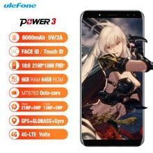 """Ulefone Puissance 3 Android 7.1 4G Smartphone 6080 mAh 6 GB 64 GB Octa Core Visage ID 6.0 """"18:9 Plein Écran Quatre Caméra 21MP Mobile téléphone"""