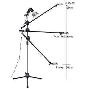 Image 5 - 写真写真電話スタジオライブビデオ撮影キット調整可能な1.3メートルの床三脚ブラケットスタンドブームアーム35ワットled補助光