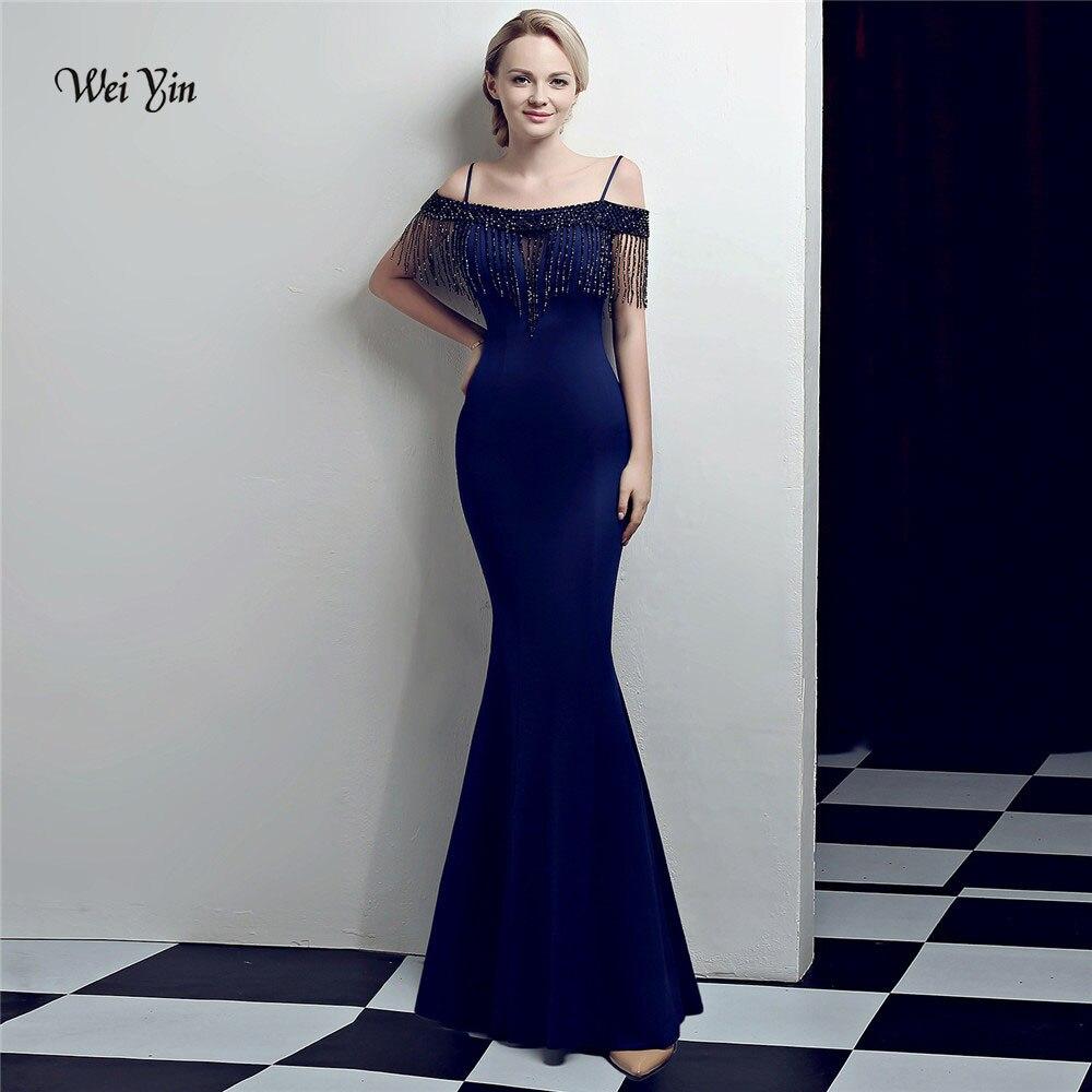 Weiyin Robe De soirée 2018 nouveautés luxe élégant longue sirène cristal robes De soirée robes De soirée formelle Photo réelle WY1018