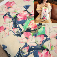 FYS8 50 140cm Lotus Gambiered Guangdong Gauze High Quality Qipao Cheongsam Fabric Silk Scarf Fabric Han