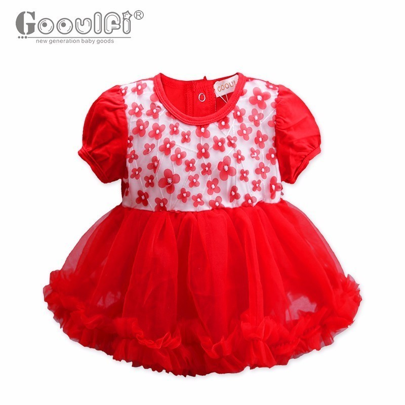 Gooulfi Full Sleeve Pleated Lace Baby Girl Romper Party Baby Onesie Cute Fashion Bow Trims Lantern Sleeve Girls Romper Dress