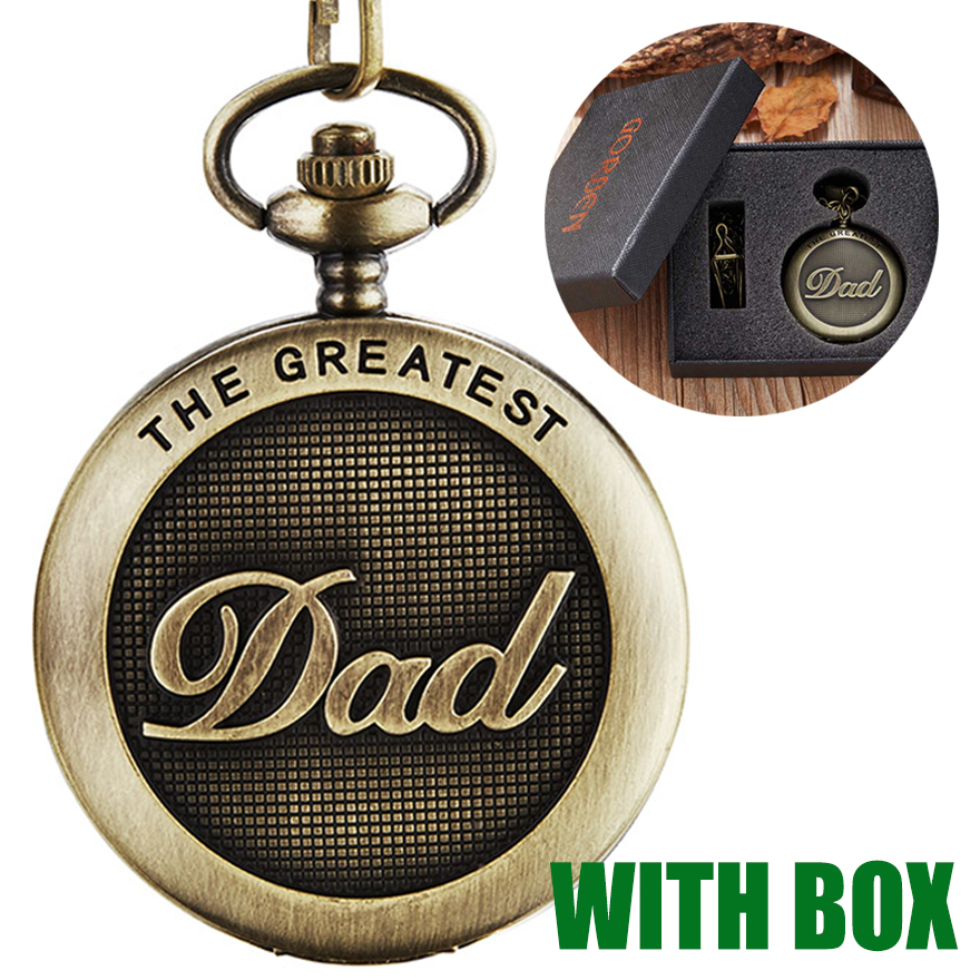 The Greatest DAD Pocket Watch with Gift Box Father's Day I LOVE YOU DAD to Daddy Birthday Present Men Gold Bronze FOB Chain Cloc(China)