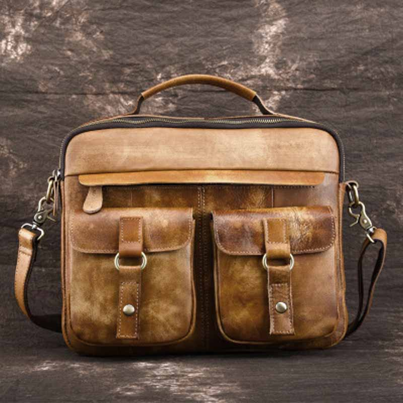 YISHEN Retro Leather Men Shoulder Crossbody Bags Genuine Leather Male Business Messenger Bags Vintage Handbag Travel Bags LS9044 men shoulder bags genuine leather vintage male business messenger bags vogue multifunction casual travel crossbody pack rucksack