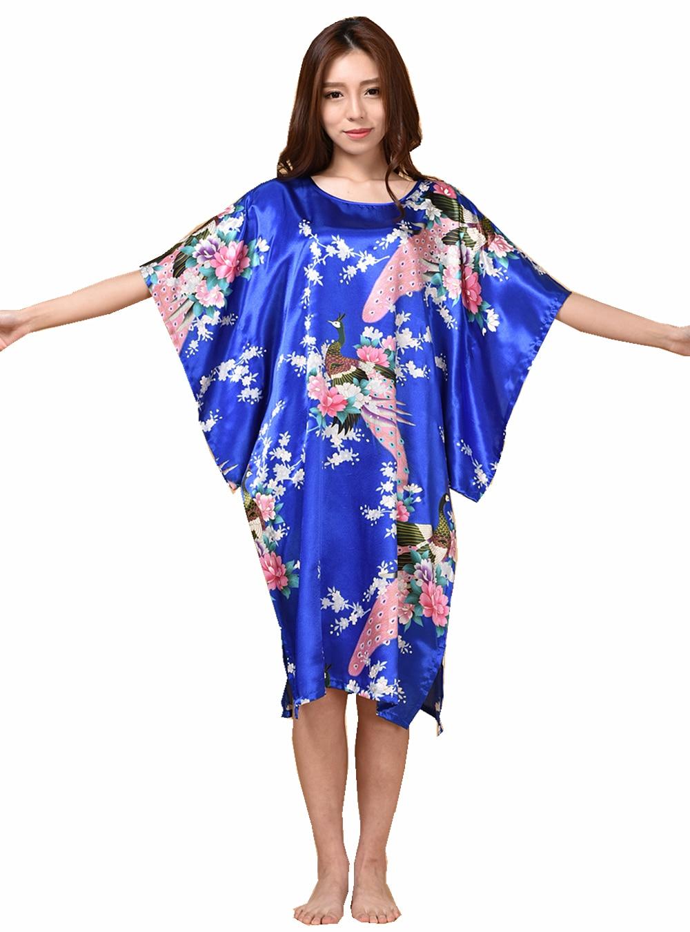 Plus Size Fashion Female Robe Bath Gown Printed Design Blue Women's Faux Silk Nightdress Summer Nightgown Pijama Muje TB07A