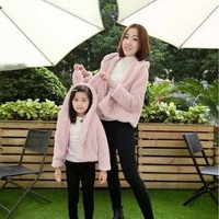 Mother and Daughter Coat Family Look Pink Gray Rabbit Hoodies Family Matching Outfits Warm Autumn Winter Mom Girl Clothing