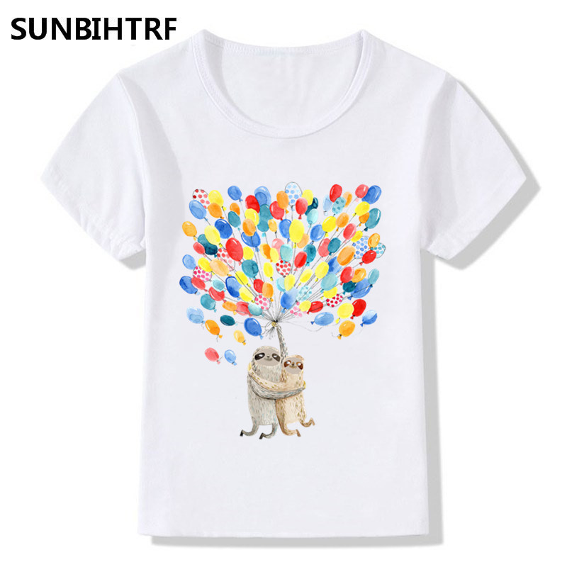 2018 Childre Cartoon Sloth Mother And Baby Holding Balloons Print Funny T-shirt Kids Summer Tops Big Girl/boy Cute Baby Clothes