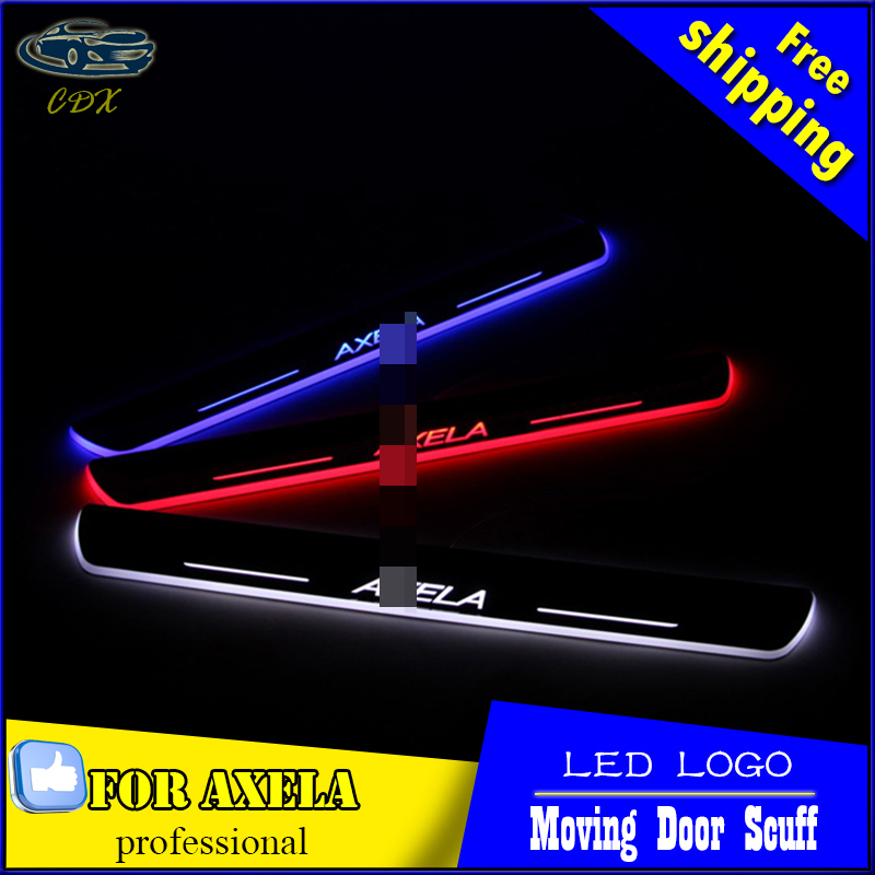 Car Styling LED Moving Door Scuff for Mazda 3 AXELA 2014-2016 Door Sill Plate LED Welcome Pedal LED Brand Logo Drl Accessories