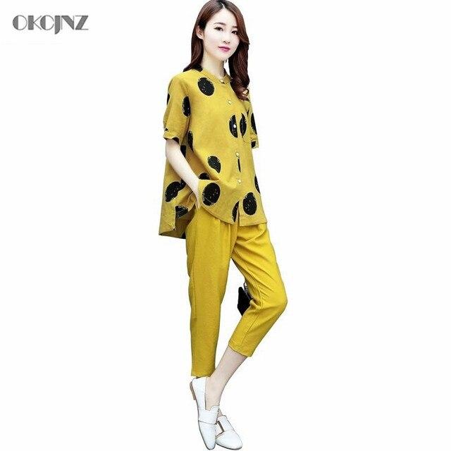 Casual Plus Size Cotton Linen Ankle-Length Pants Suit 2 Piece Set Women Tracksuit Summer Sport Suit Sweatsuit Dot Pattern OKQ330