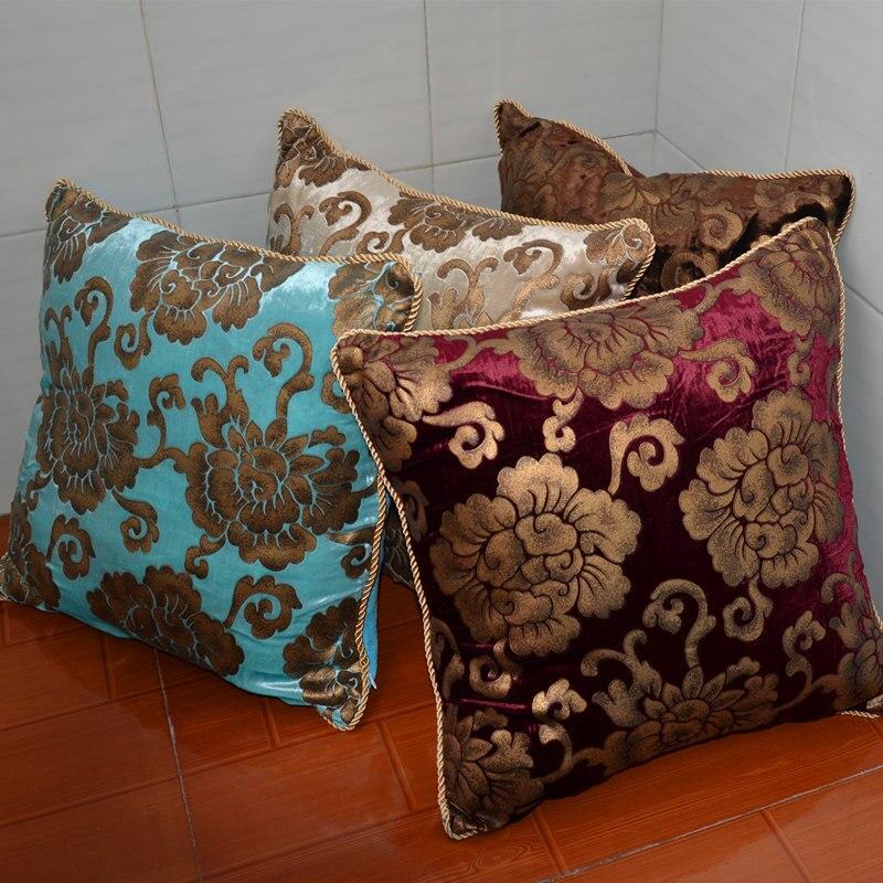Moda de Alta Qualidade Luxo Flor de Veludo Bronzeamento Suave Almofada Home Decor Lance Fronha Para Sofá Cadeira 30 45 cm P