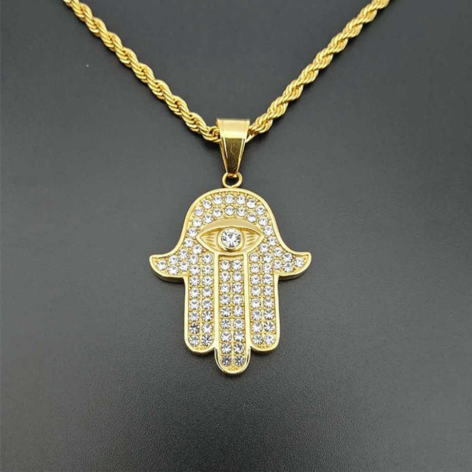 Naszyjnik męski i damski Hamsa Hand of Fatima wisiorek i łańcuszek złoty kolor stal nierdzewna Palm naszyjniki turecka biżuteria