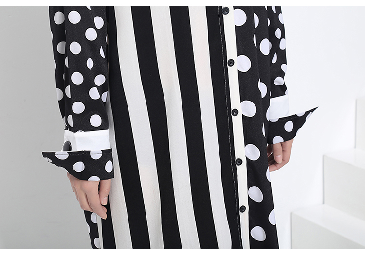 New Fashion Style Polka Dots Printed Stripes Dress Fashion Nova Clothing