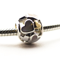 Fit Pandora Bracelets DIY Beads 14K Real Gold & 925 Sterling Silver Mother Of Pearl Luminous Hearts Charm for Jewelry Making