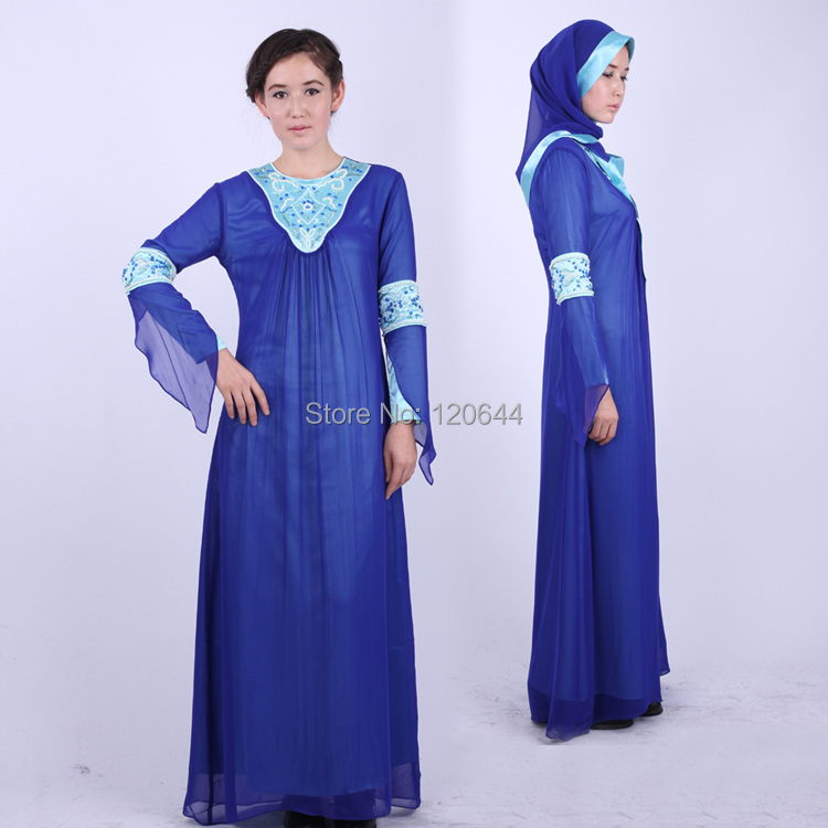 Royal Blue Chiffon Applique Straight Caftan Prom Arabic Kaftan Dubai Muslim Evening Dress Full Sleeve Hijab - SuZhou Kamaliya Love Store store