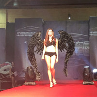 wedding shooting props Cosplay photography game costume Angel demon wing black feather angel wings for Fashion show Displays